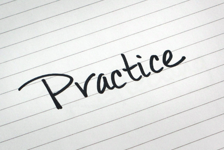 A page with the word 'Practice' written down.