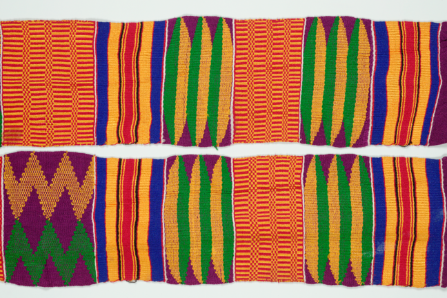Photograph of a multicoloured woven West African textile