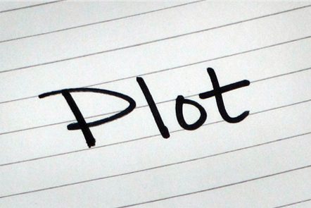 A page with the word 'Plot' written down.