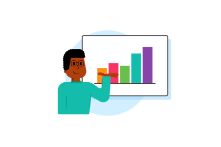 An illustration of a man standing in front of a board showing the word presenting