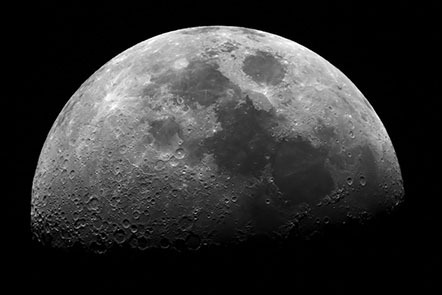 A close-up image of the Moon, taken through a telescope.