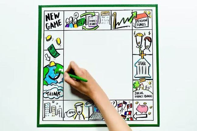Hand drawing on a social impact game board
