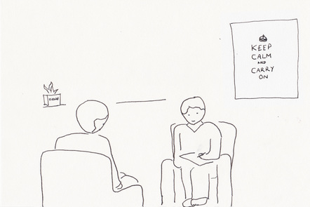 Illustration of typical therapy scenario - two people talking. The picture in the background says 'keep calm and carry on'