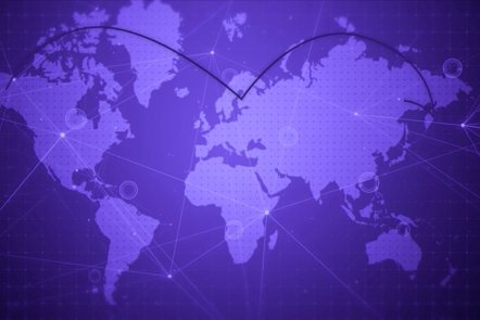 World blue map connecting dots to symbolize international collaborations.