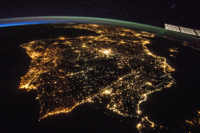 The lights of the Iberian Peninsula at night, viewed from space.