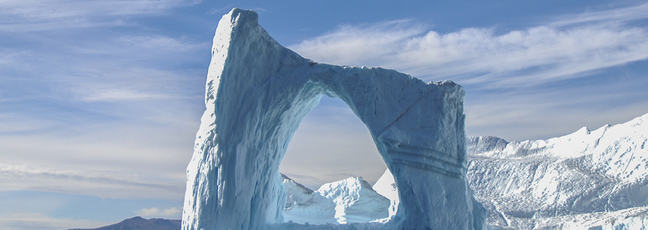 Photograph showing an arc of ice