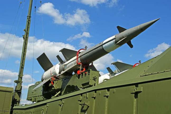 Russian anti-aircraft missiles 5V27DE against the sky