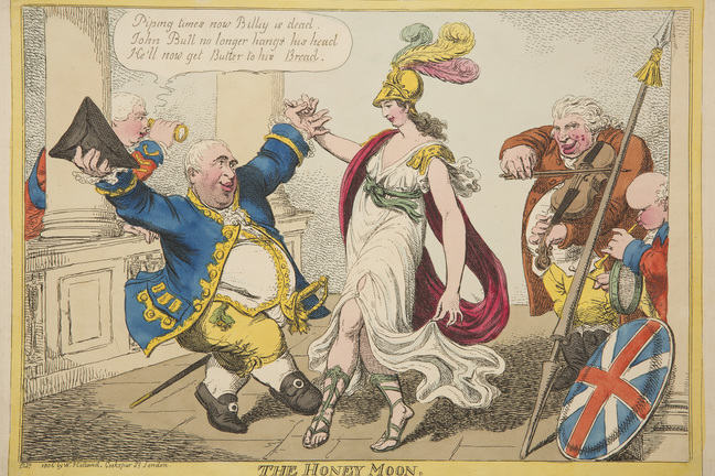 An early 19th century coloured etching of the British Foreign Secretary dancing with Britannia