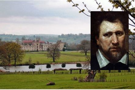 Photo of Penshurst Place with an inset portait of Ben Jonson