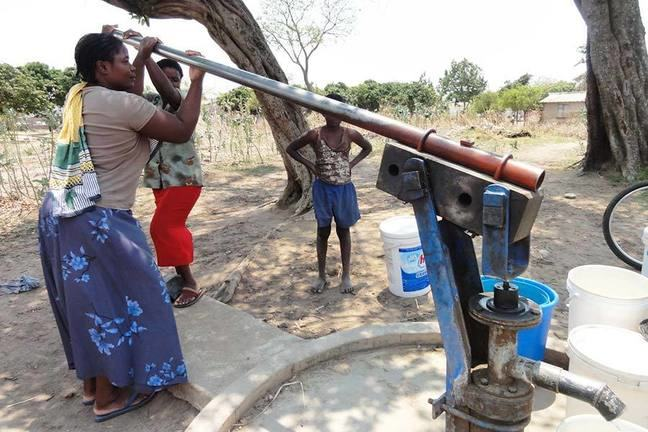 Collecting water from the borehole