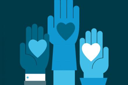 Illustration of three hands, all with hearts in the palms