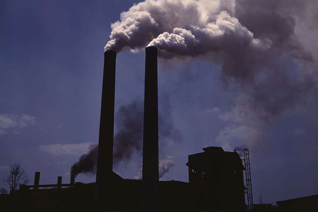 Photo of air pollution from smoke stacks