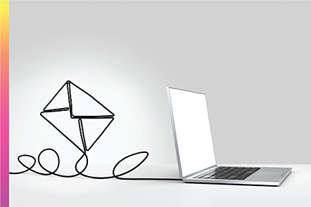 Photographic image of laptop with cable twisted in the shape of an email icon