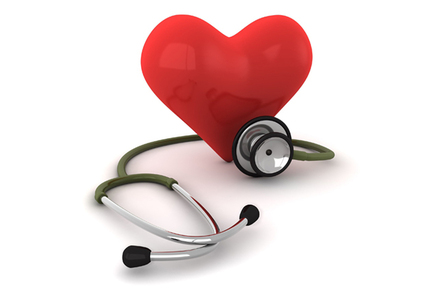 Image of a stethoscope and a heart