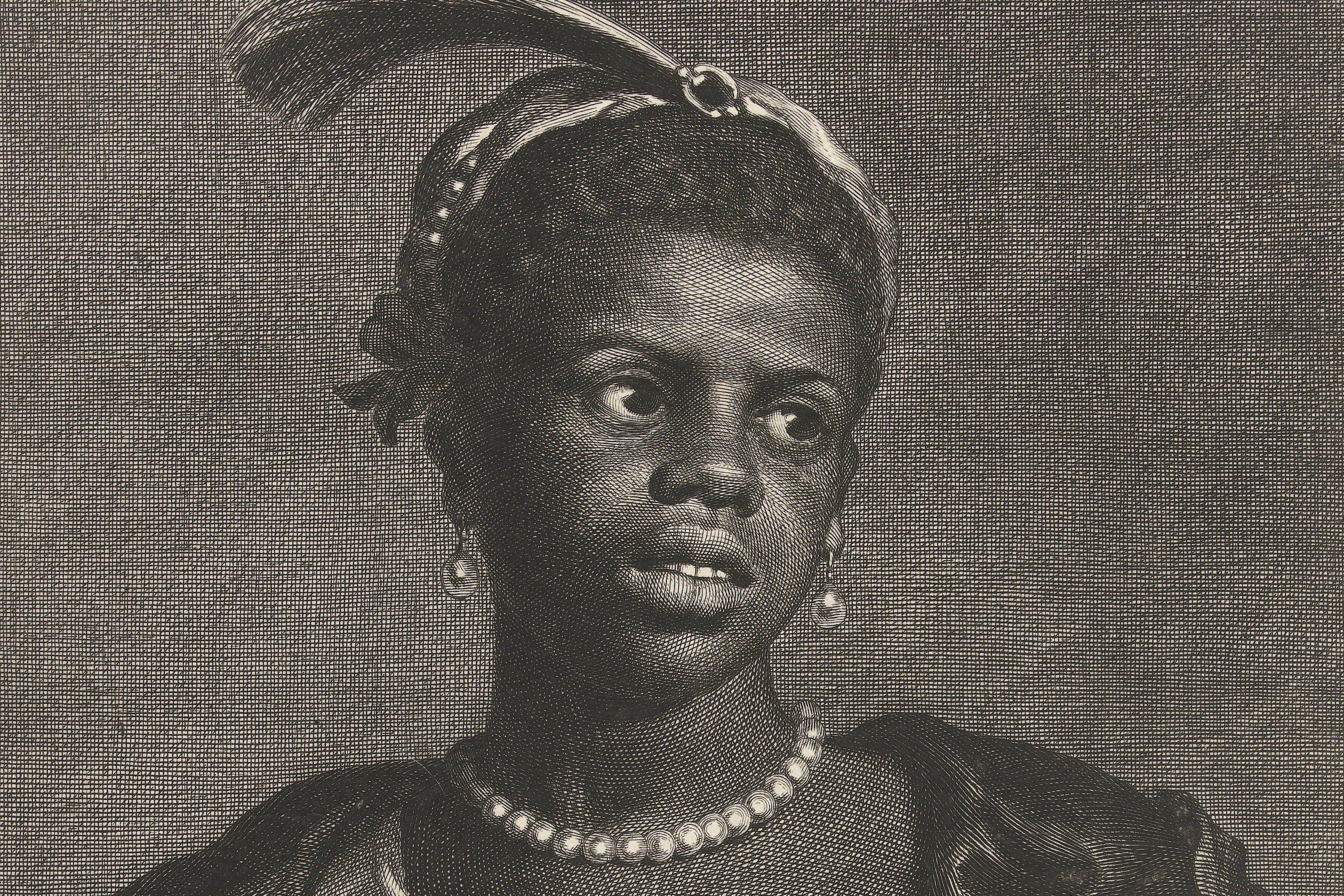 Etching of a young African woman wearing a pearl necklace