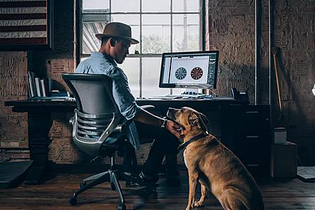 Man on chair, stroking dog with computer screen showing graphics. Photo by DEVN on Unsplash