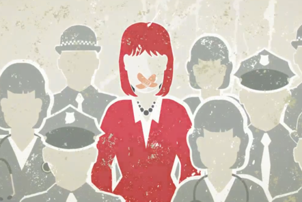 A woman stands in the centre of a crowd. Her mouth is covered by plasters. She is surrounded by a range of health and social care professionals, recognisable by their uniforms which include business suits, police uniforms and medical scrubs. Illustration.