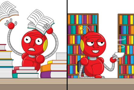 Stressed robot surrounded by piles of books, and a relaxed robot sitting besides well organised books in shelves whilst drinking a tea