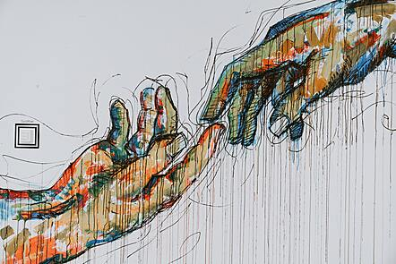 Two hands meeting - drawing