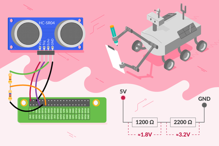 robot with a pen and paper looking at a board connected to ultra sonic distance sensor