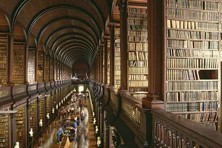 An old, large library with thousands of books.
