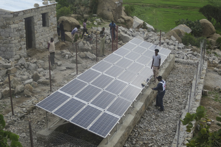 Eritrea, Milezanay village, Solar arrays for the new water supply system (ICRC photo)