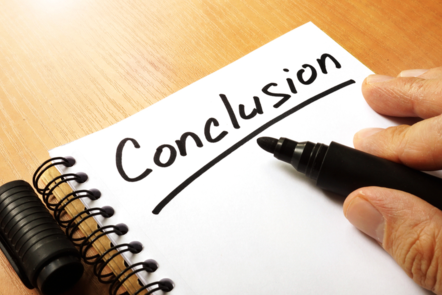 Conclusion written in marker pen on a notepad (image: ©Shutterstock)