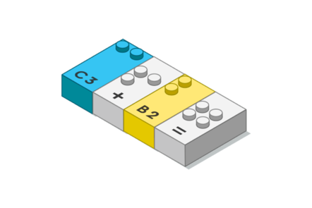 Drawing of a LEGO Braille Brick, showing 2+3=