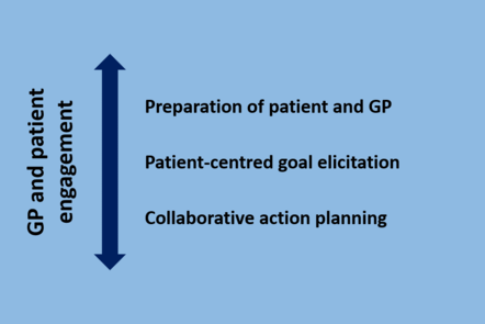 GP and patient engagement. Preparation of patient and GP. Patient-centred goal elicitation. Collaborative action planning.