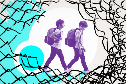 A stylised image of two boys walking behind a broken chainlink fence.