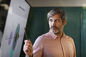 Man pointing at a chart on a big screen.