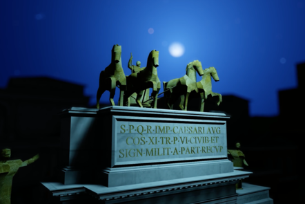 Digital recreation of the arch of Augustus at night time. The stone memorial has a chariot pulled by 4 horses.